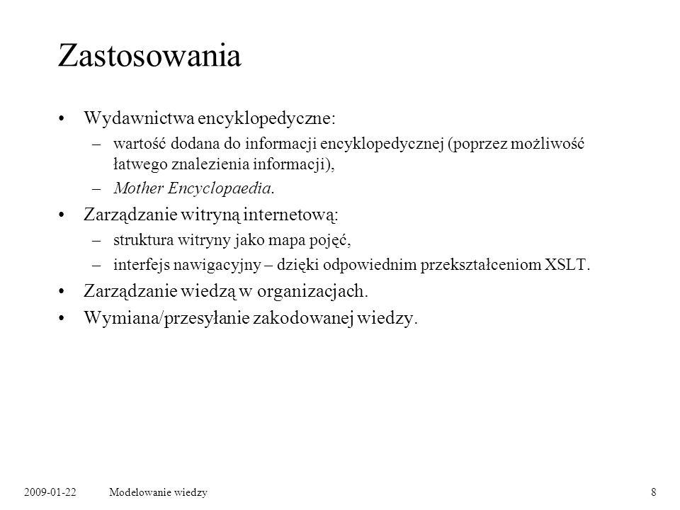 2009-01-22Modelowanie wiedzy29 Łączenie grafów RDF Szymon Zioło name mbox knows Jan Kowalski name mbox WAW contact:nearestAirport airport:iataCode Wartość własności mbox identyfikuje jednoznacznie osobę.