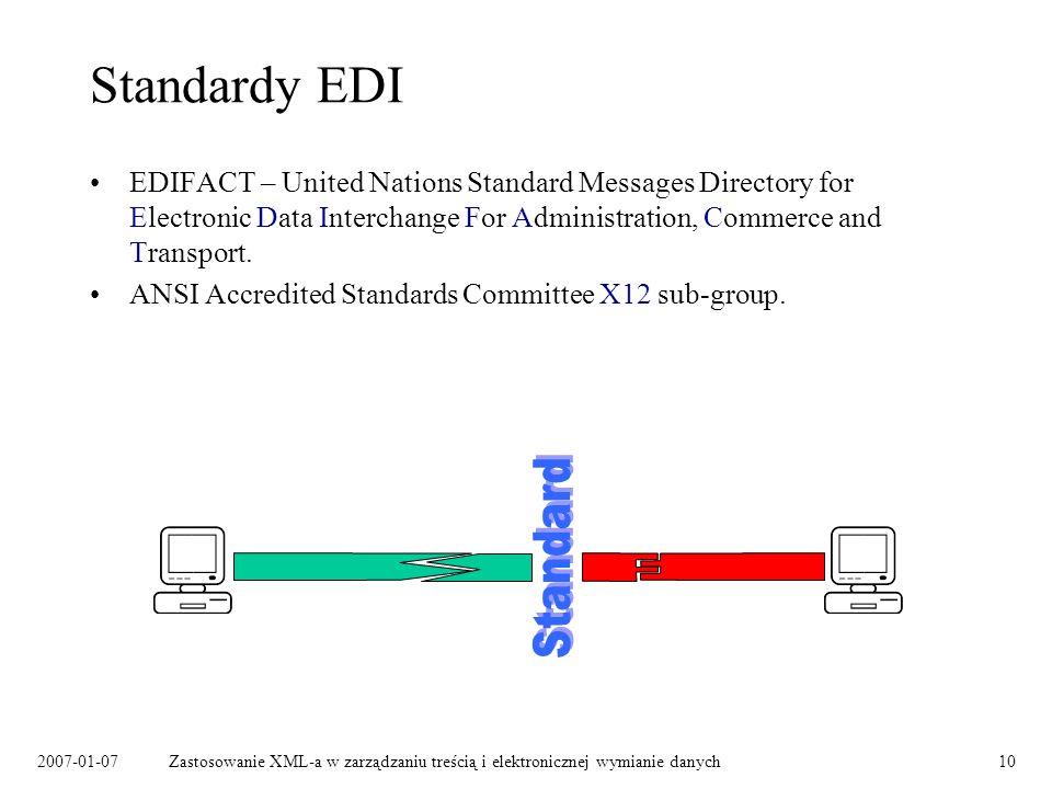 2007-01-07Zastosowanie XML-a w zarządzaniu treścią i elektronicznej wymianie danych10 Standardy EDI EDIFACT – United Nations Standard Messages Directory for Electronic Data Interchange For Administration, Commerce and Transport.