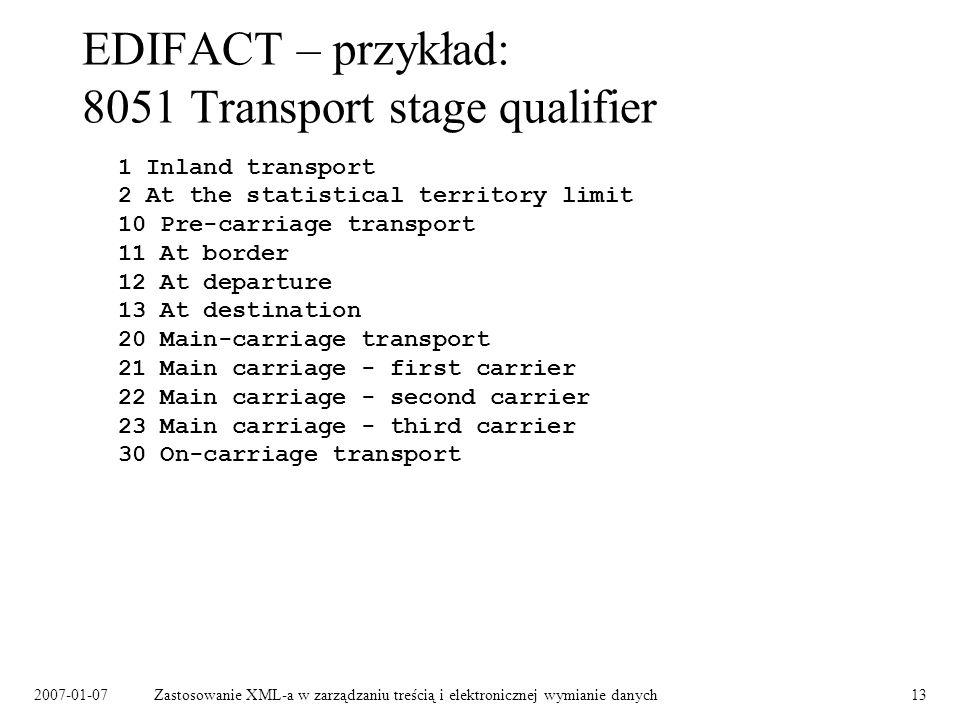 2007-01-07Zastosowanie XML-a w zarządzaniu treścią i elektronicznej wymianie danych13 EDIFACT – przykład: 8051 Transport stage qualifier 1 Inland tran