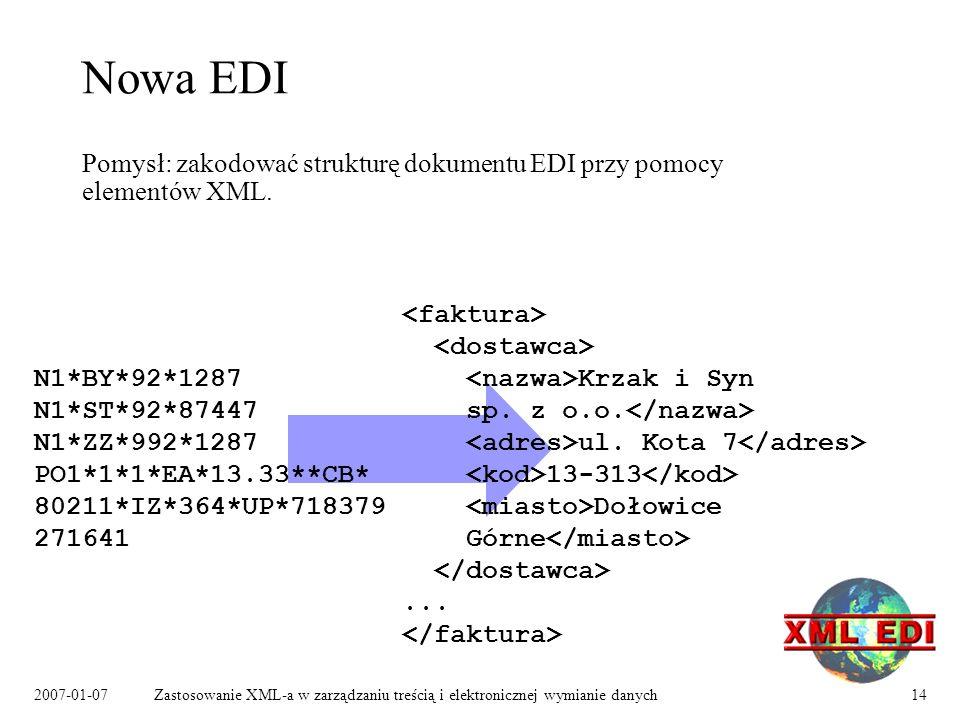 2007-01-07Zastosowanie XML-a w zarządzaniu treścią i elektronicznej wymianie danych14 Nowa EDI Pomysł: zakodować strukturę dokumentu EDI przy pomocy elementów XML.