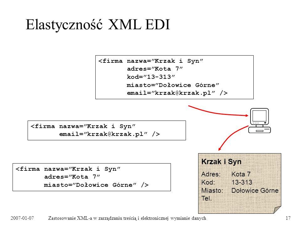 2007-01-07Zastosowanie XML-a w zarządzaniu treścią i elektronicznej wymianie danych17 Elastyczność XML EDI Krzak i Syn Adres:Kota 7 Kod:13-313 Miasto:Dołowice Górne Tel.