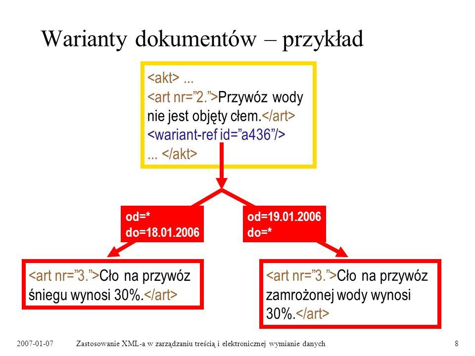 2007-01-07Zastosowanie XML-a w zarządzaniu treścią i elektronicznej wymianie danych8 Warianty dokumentów – przykład... Przywóz wody nie jest objęty cł