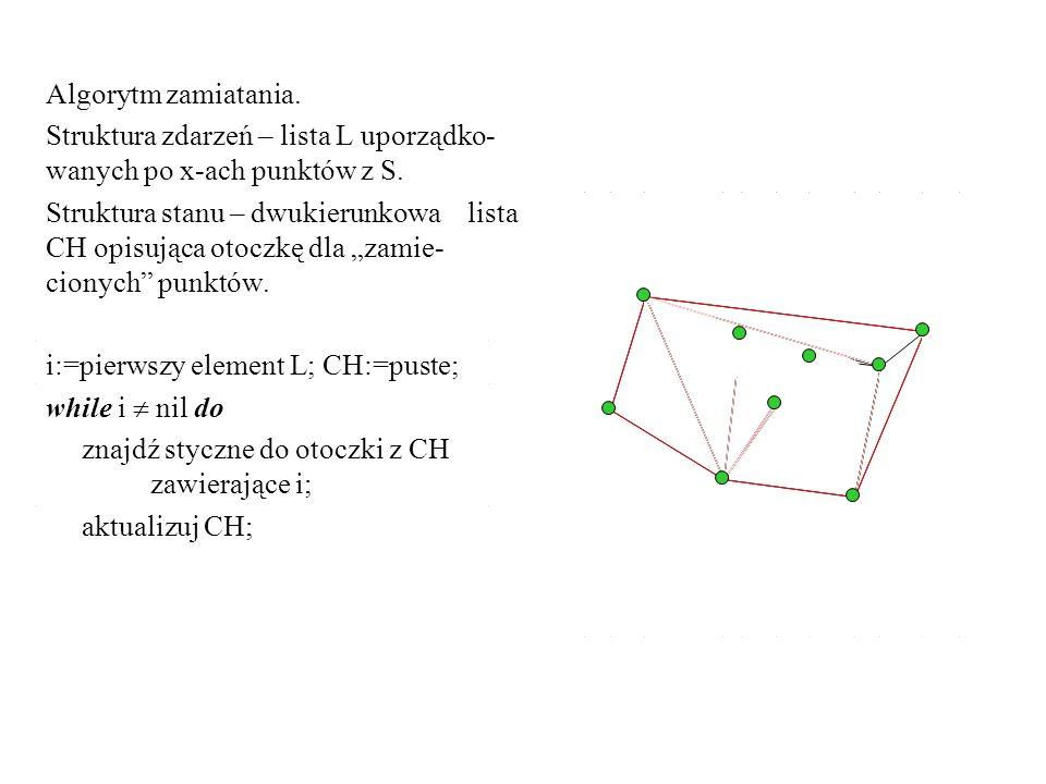 Algorytm zamiatania. Struktura zdarzeń – lista L uporządko- wanych po x-ach punktów z S. Struktura stanu – dwukierunkowa lista CH opisująca otoczkę dl