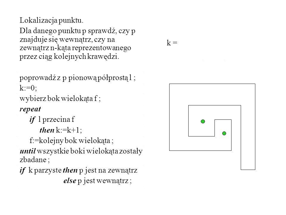 Lokalizacja punktu. Dla danego punktu p sprawdź, czy p znajduje się wewnątrz, czy na zewnątrz n-kąta reprezentowanego przez ciąg kolejnych krawędzi. p