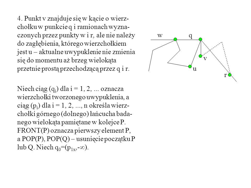4. Punkt v znajduje się w kącie o wierz- chołku w punkcie q i ramionach wyzna- czonych przez punkty w i r, ale nie należy do zagłębienia, którego wier