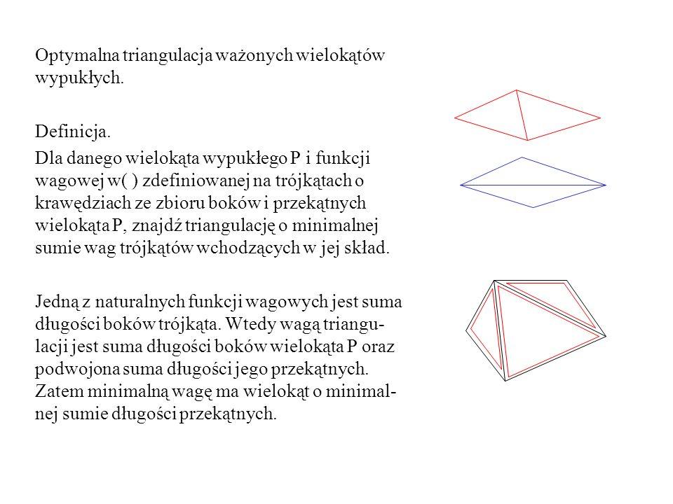 Optymalna triangulacja ważonych wielokątów wypukłych. Definicja. Dla danego wielokąta wypukłego P i funkcji wagowej w( ) zdefiniowanej na trójkątach o