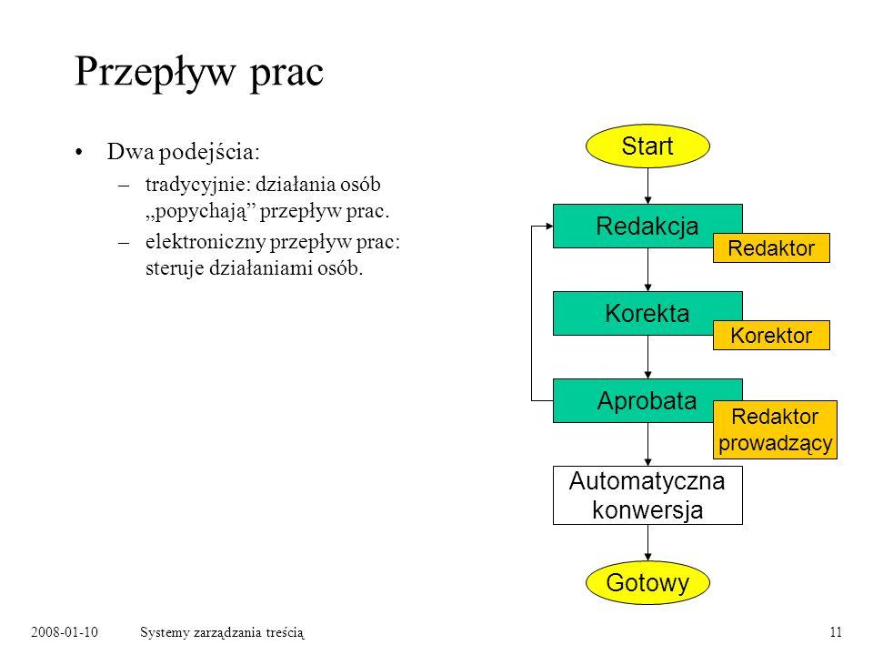 2008-01-10Systemy zarządzania treścią11 Przepływ prac Dwa podejścia: –tradycyjnie: działania osób popychają przepływ prac.