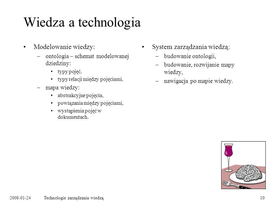 2008-01-24Technologie zarządzania wiedzą10 Wiedza a technologia Modelowanie wiedzy: –ontologia – schemat modelowanej dziedziny: typy pojęć, typy relac