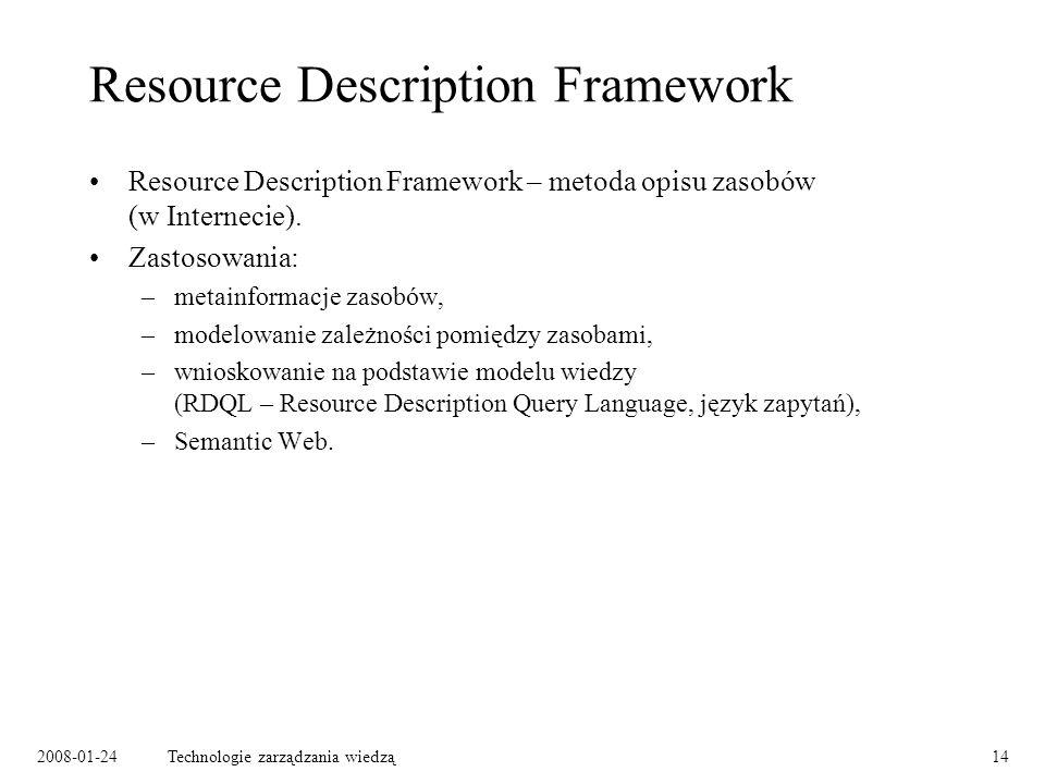 2008-01-24Technologie zarządzania wiedzą14 Resource Description Framework Resource Description Framework – metoda opisu zasobów (w Internecie). Zastos