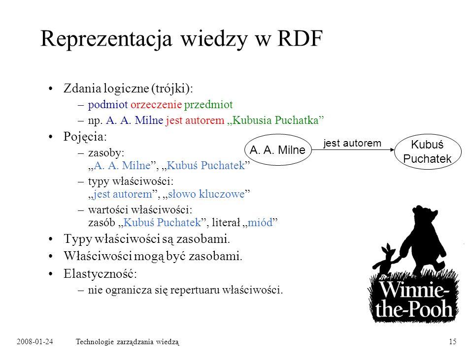 2008-01-24Technologie zarządzania wiedzą15 Reprezentacja wiedzy w RDF Zdania logiczne (trójki): –podmiot orzeczenie przedmiot –np. A. A. Milne jest au