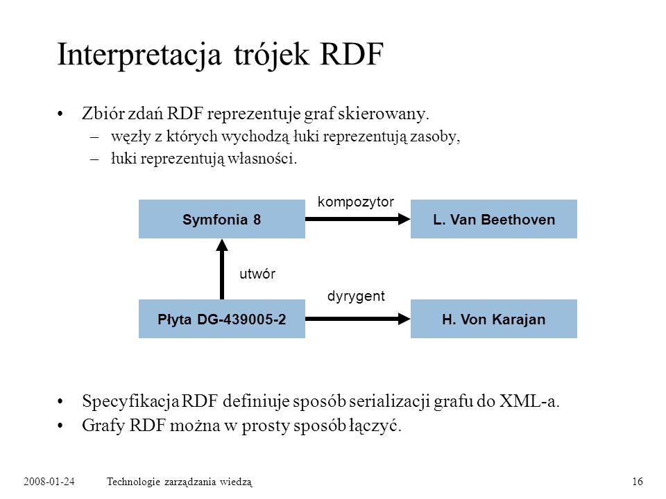 2008-01-24Technologie zarządzania wiedzą16 Interpretacja trójek RDF Zbiór zdań RDF reprezentuje graf skierowany. –węzły z których wychodzą łuki reprez