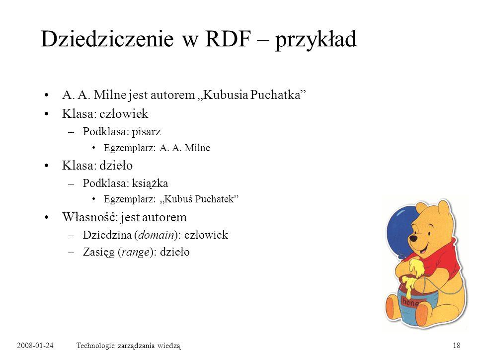 2008-01-24Technologie zarządzania wiedzą18 Dziedziczenie w RDF – przykład A. A. Milne jest autorem Kubusia Puchatka Klasa: człowiek –Podklasa: pisarz