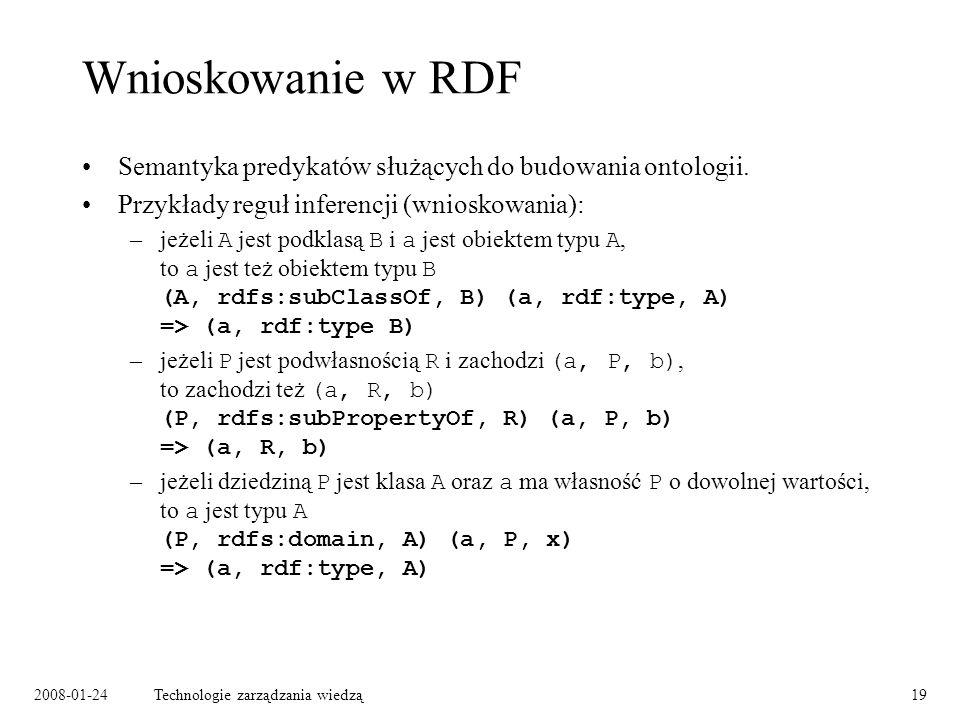 2008-01-24Technologie zarządzania wiedzą19 Wnioskowanie w RDF Semantyka predykatów służących do budowania ontologii. Przykłady reguł inferencji (wnios