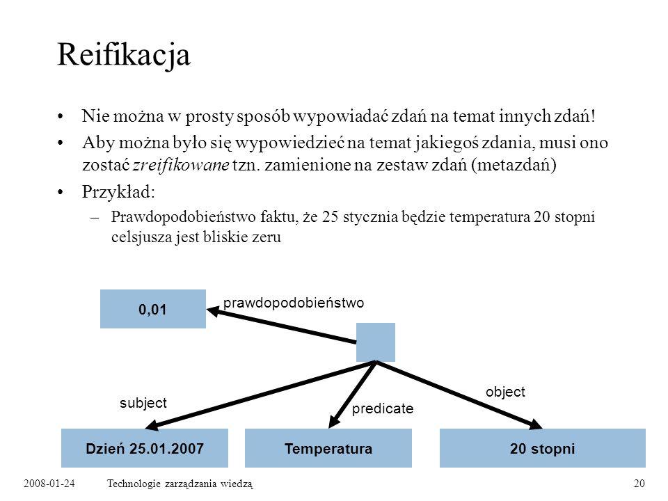 2008-01-24Technologie zarządzania wiedzą20 Reifikacja Nie można w prosty sposób wypowiadać zdań na temat innych zdań! Aby można było się wypowiedzieć