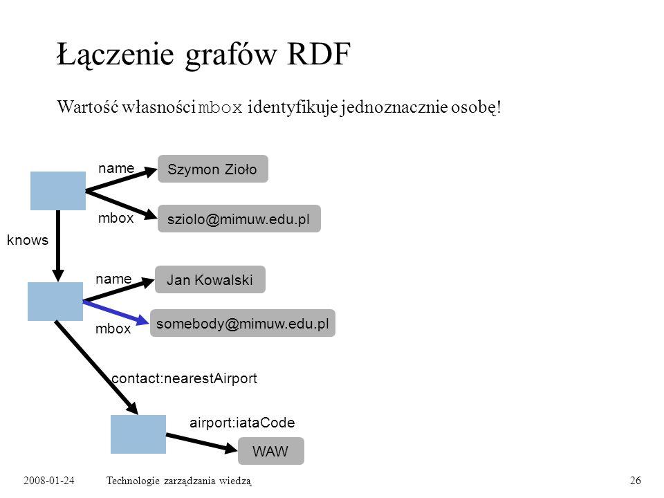 2008-01-24Technologie zarządzania wiedzą26 Łączenie grafów RDF Szymon Zioło name mbox knows Jan Kowalski name mbox WAW contact:nearestAirport airport: