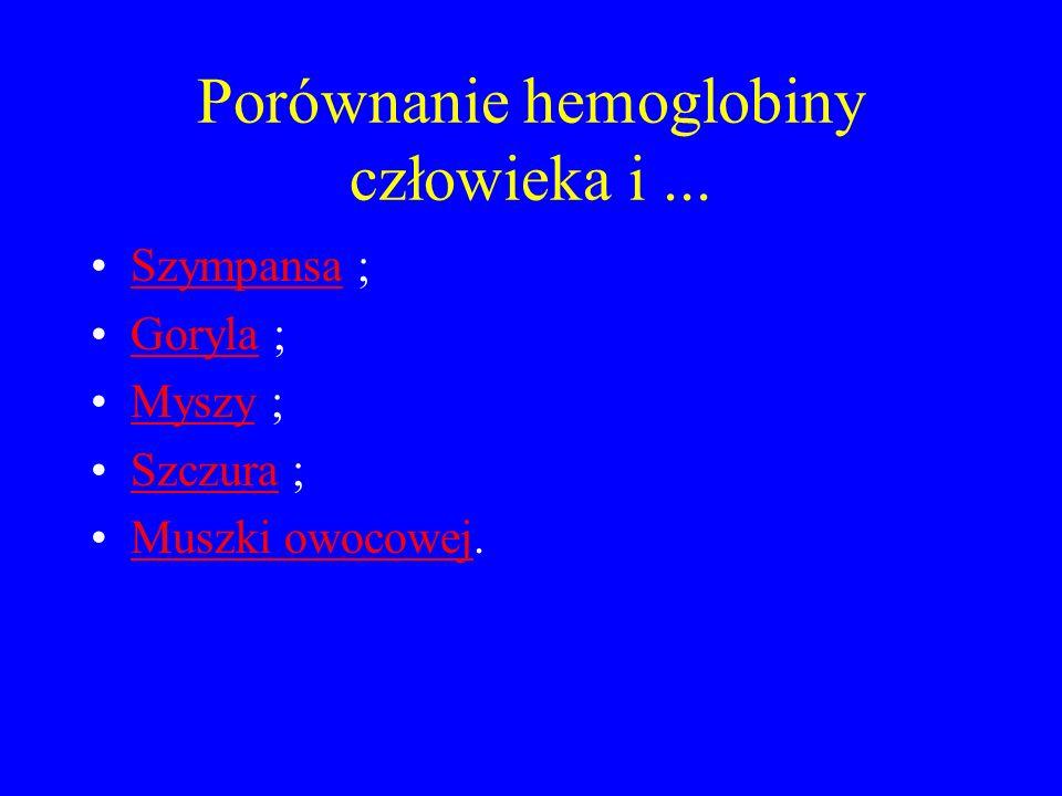 Porównanie hemoglobiny człowieka i... Szympansa ;Szympansa Goryla ;Goryla Myszy ;Myszy Szczura ;Szczura Muszki owocowej.Muszki owocowej