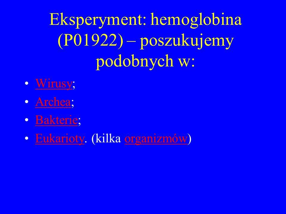 Eksperyment: hemoglobina (P01922) – poszukujemy podobnych w: Wirusy;Wirusy Archea;Archea Bakterie;Bakterie Eukarioty. (kilka organizmów)Eukariotyorgan