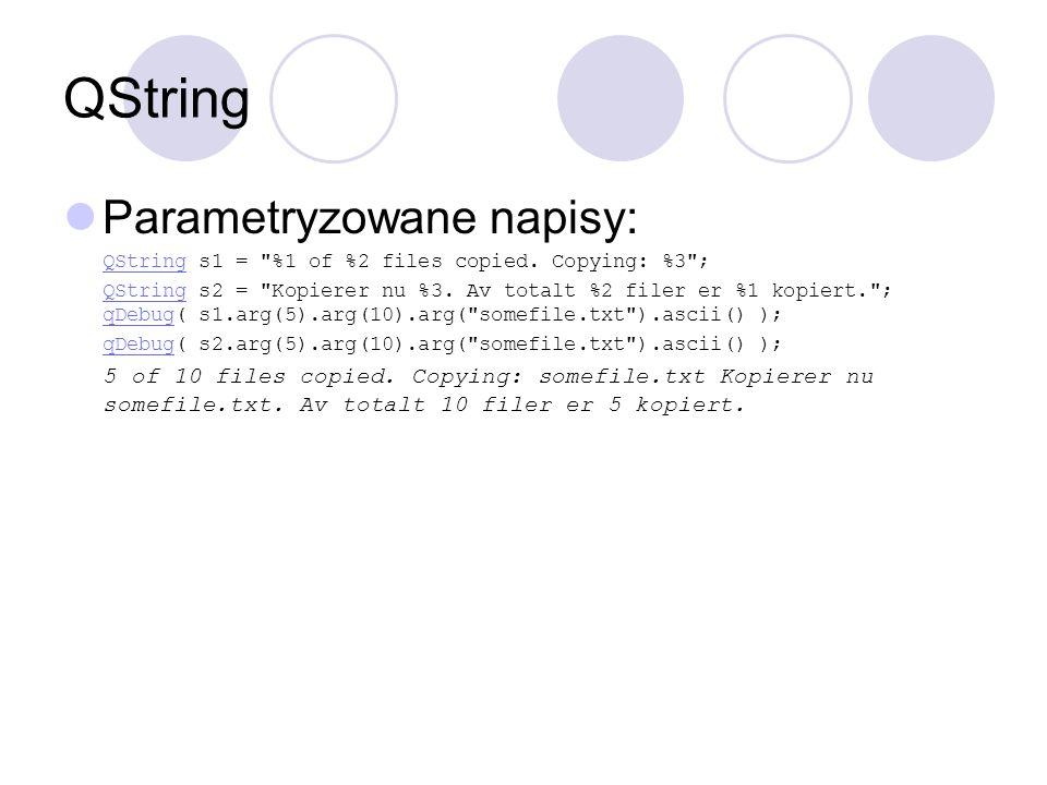 QString Parametryzowane napisy: QStringQString s1 =