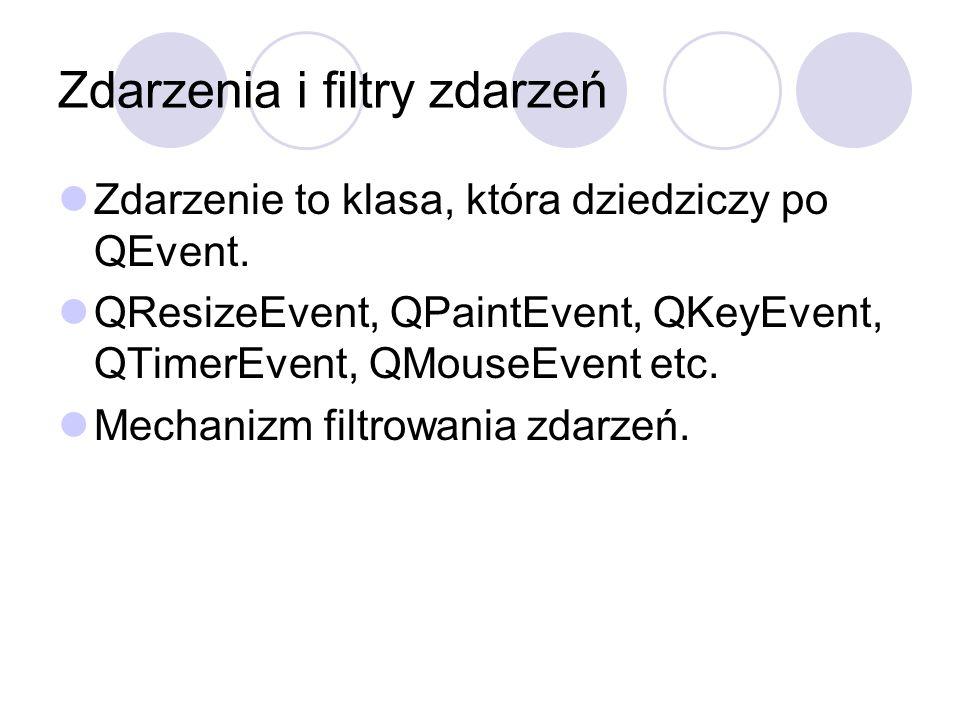 Zdarzenia i filtry zdarzeń Zdarzenie to klasa, która dziedziczy po QEvent. QResizeEvent, QPaintEvent, QKeyEvent, QTimerEvent, QMouseEvent etc. Mechani