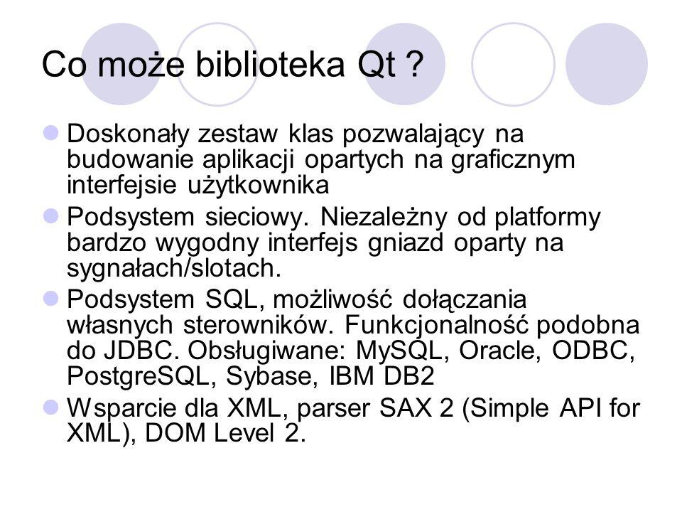 Co może biblioteka Qt ? Doskonały zestaw klas pozwalający na budowanie aplikacji opartych na graficznym interfejsie użytkownika Podsystem sieciowy. Ni
