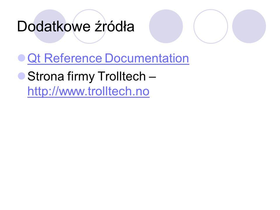 Dodatkowe źródła Qt Reference Documentation Strona firmy Trolltech – http://www.trolltech.no http://www.trolltech.no