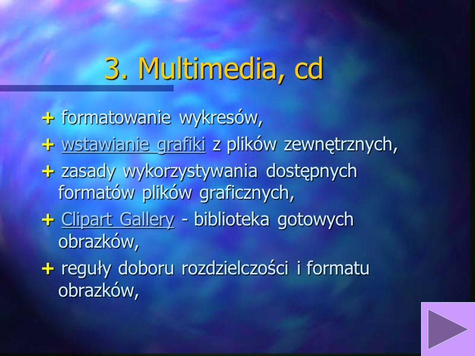 3. Multimedia + łączenie i osadzanie obiektów, + wstawianie obiektów z innych aplikacji pakietu Office, + kreowanie i wstawianie: - tabel, - wykresów,