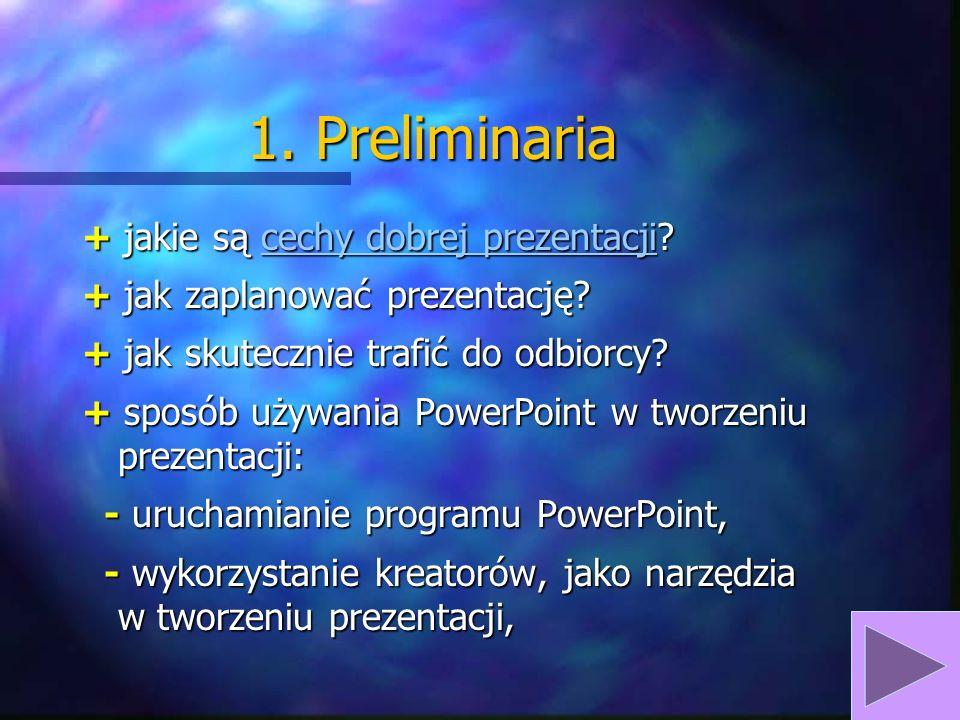 1.Preliminaria + jakie są cechy dobrej prezentacji.