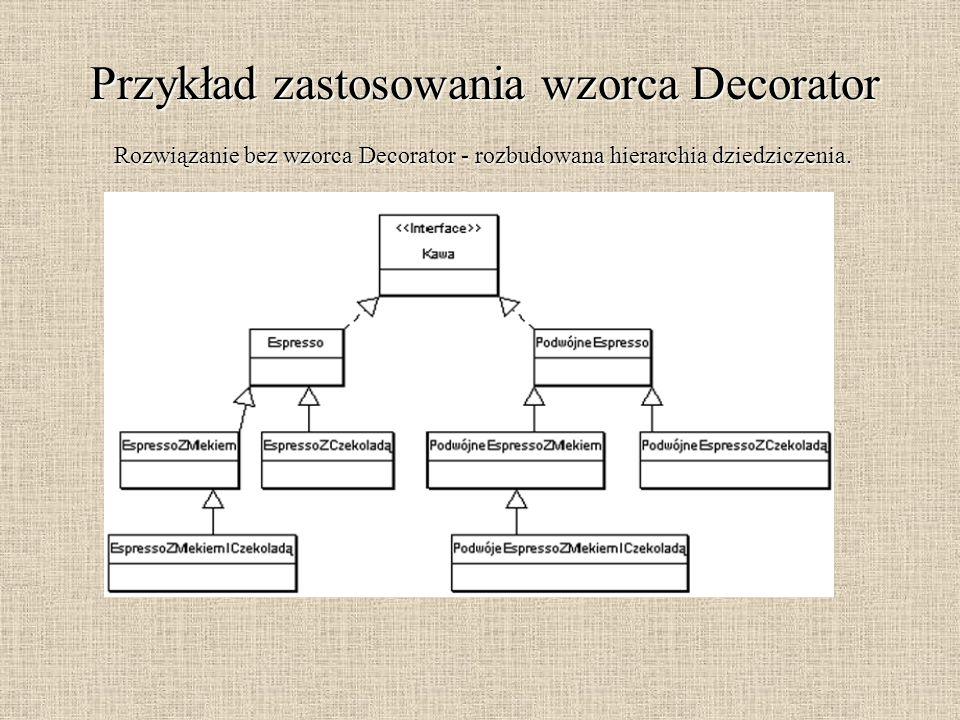 Przykład zastosowania wzorca Decorator Rozwiązanie bez wzorca Decorator - rozbudowana hierarchia dziedziczenia.