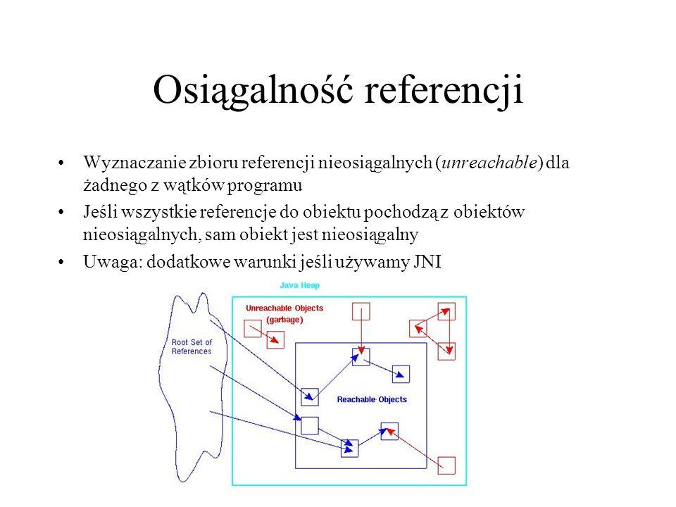 Osiągalność referencji Wyznaczanie zbioru referencji nieosiągalnych (unreachable) dla żadnego z wątków programu Jeśli wszystkie referencje do obiektu