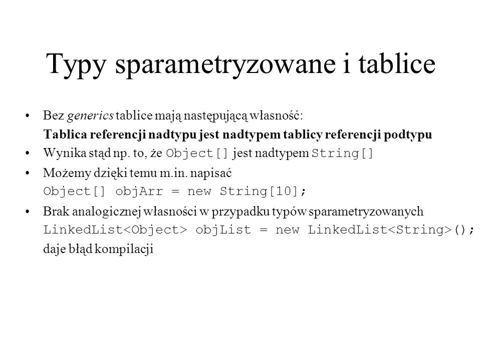 Typy sparametryzowane i tablice Bez generics tablice mają następującą własność: Tablica referencji nadtypu jest nadtypem tablicy referencji podtypu Wy
