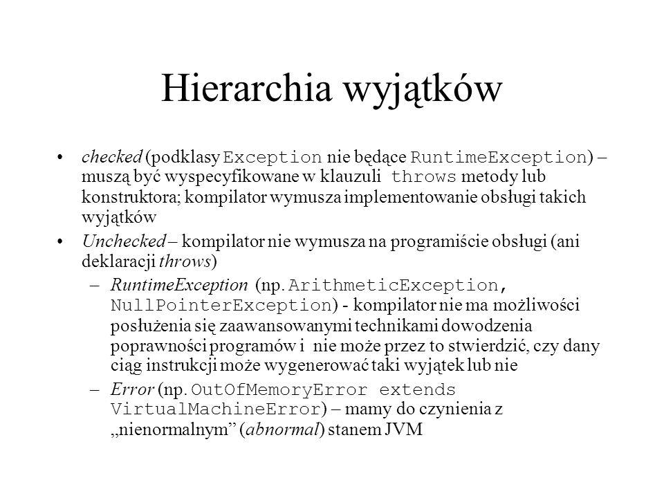 Hierarchia wyjątków checked (podklasy Exception nie będące RuntimeException ) – muszą być wyspecyfikowane w klauzuli throws metody lub konstruktora; k