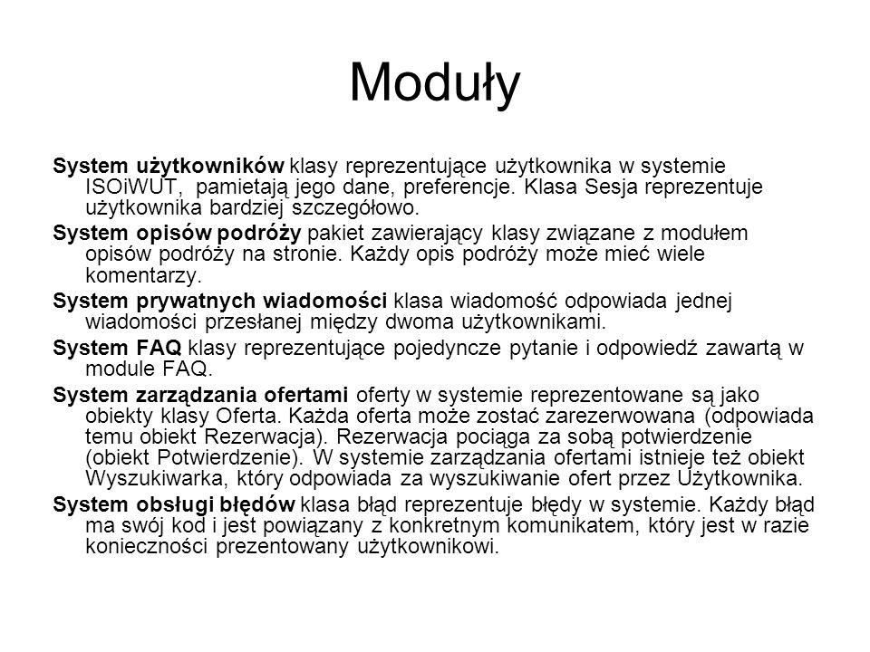 Moduły System użytkowników klasy reprezentujące użytkownika w systemie ISOiWUT, pamietają jego dane, preferencje. Klasa Sesja reprezentuje użytkownika