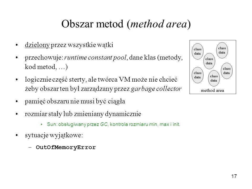 17 Obszar metod (method area) dzielony przez wszystkie wątki przechowuje: runtime constant pool, dane klas (metody, kod metod, …) logicznie część ster