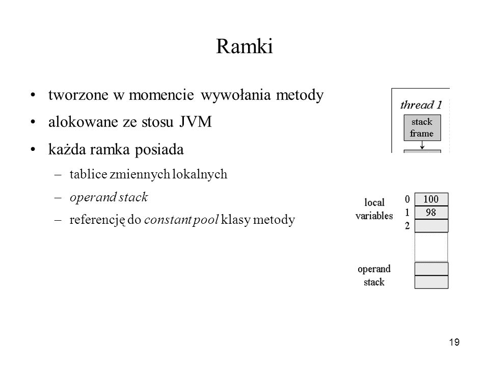 19 Ramki tworzone w momencie wywołania metody alokowane ze stosu JVM każda ramka posiada –tablice zmiennych lokalnych –operand stack –referencję do co