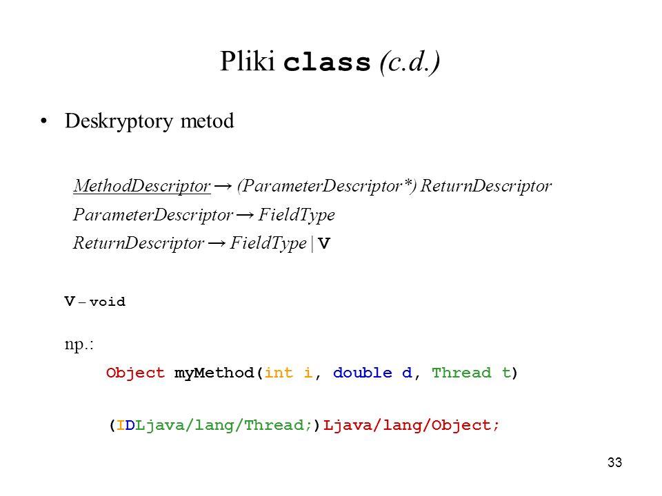 33 Pliki class (c.d.) Deskryptory metod MethodDescriptor (ParameterDescriptor*) ReturnDescriptor ParameterDescriptor FieldType ReturnDescriptor FieldT