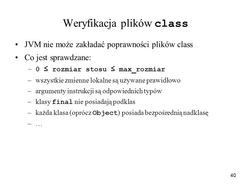 40 Weryfikacja plików class JVM nie może zakładać poprawności plików class Co jest sprawdzane: –0 rozmiar stosu max_rozmiar –wszystkie zmienne lokalne