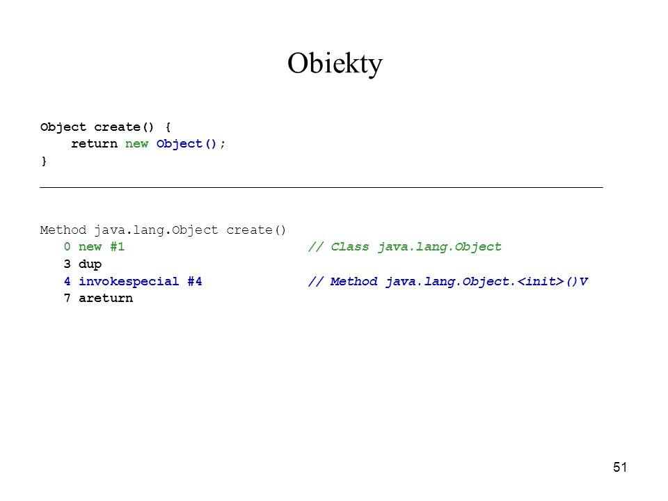 51 Obiekty Object create() { return new Object(); } Method java.lang.Object create() 0 new #1// Class java.lang.Object 3 dup 4 invokespecial #4// Meth