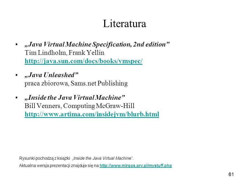 61 Literatura Java Virtual Machine Specification, 2nd edition Tim Lindholm, Frank Yellin http://java.sun.com/docs/books/vmspec/ http://java.sun.com/do