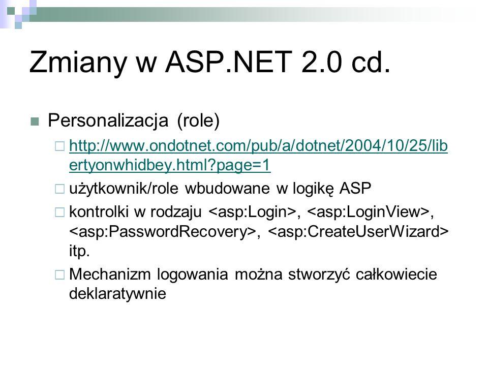 Zmiany w ASP.NET 2.0 cd. Personalizacja (role) http://www.ondotnet.com/pub/a/dotnet/2004/10/25/lib ertyonwhidbey.html?page=1 http://www.ondotnet.com/p