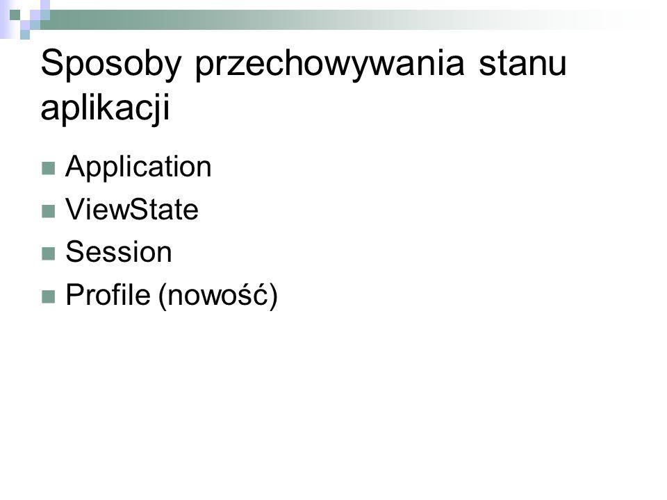 Sposoby przechowywania stanu aplikacji Application ViewState Session Profile (nowość)