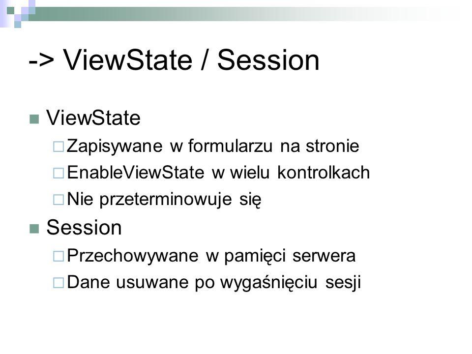 -> ViewState / Session ViewState Zapisywane w formularzu na stronie EnableViewState w wielu kontrolkach Nie przeterminowuje się Session Przechowywane