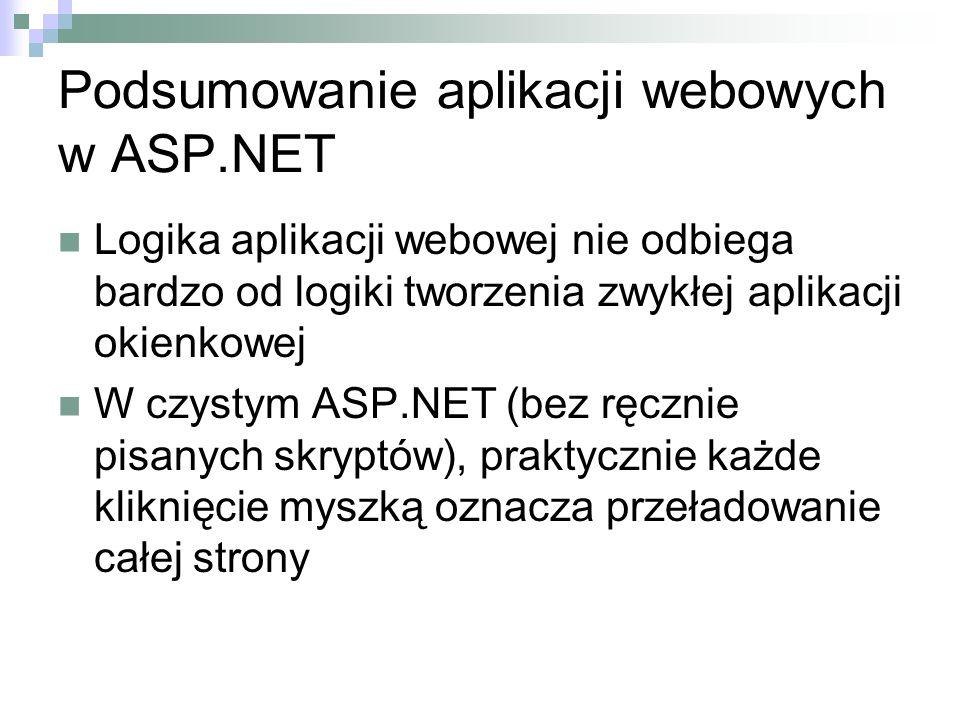 Podsumowanie aplikacji webowych w ASP.NET Logika aplikacji webowej nie odbiega bardzo od logiki tworzenia zwykłej aplikacji okienkowej W czystym ASP.N