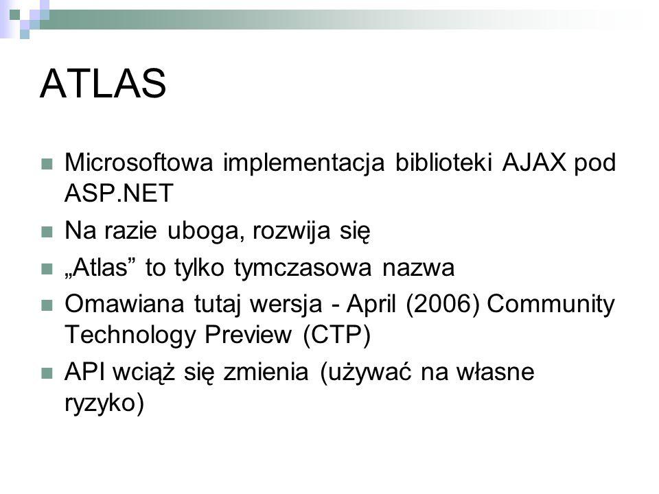 ATLAS Microsoftowa implementacja biblioteki AJAX pod ASP.NET Na razie uboga, rozwija się Atlas to tylko tymczasowa nazwa Omawiana tutaj wersja - April (2006) Community Technology Preview (CTP) API wciąż się zmienia (używać na własne ryzyko)