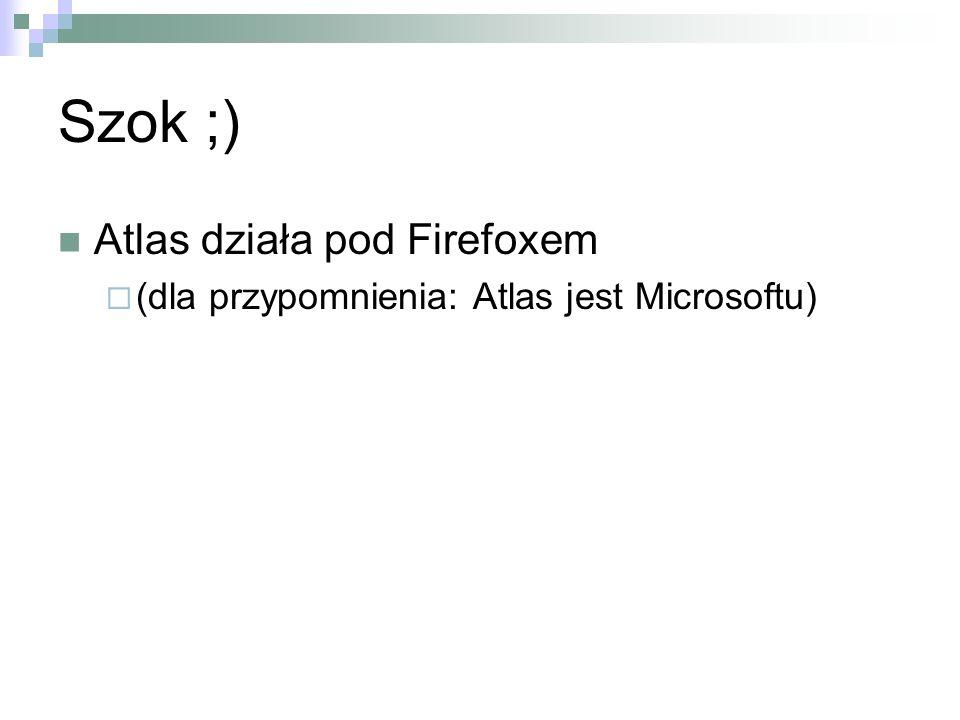 Szok ;) Atlas działa pod Firefoxem (dla przypomnienia: Atlas jest Microsoftu)