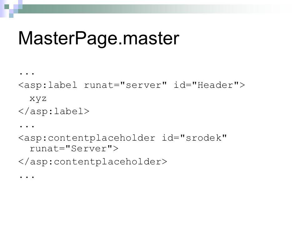 Page.aspx void Page_Load(object sender, System.EventArgs e) { Label headerLabel = (Label) Master.FindControl( Header ); headerLabel.Text = abc ; }...