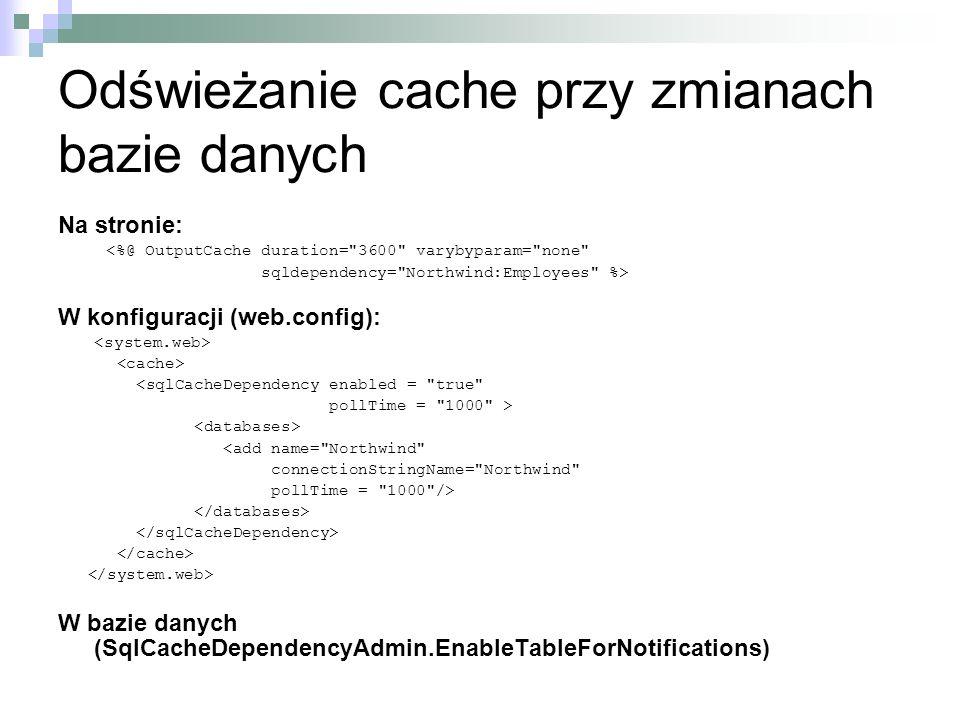 Odświeżanie cache przy zmianach bazie danych Na stronie: <%@ OutputCache duration=
