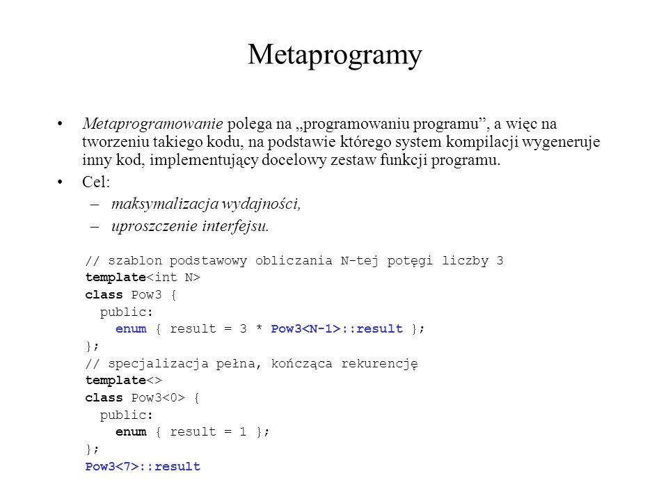 Metaprogramy Metaprogramowanie polega na programowaniu programu, a więc na tworzeniu takiego kodu, na podstawie którego system kompilacji wygeneruje i