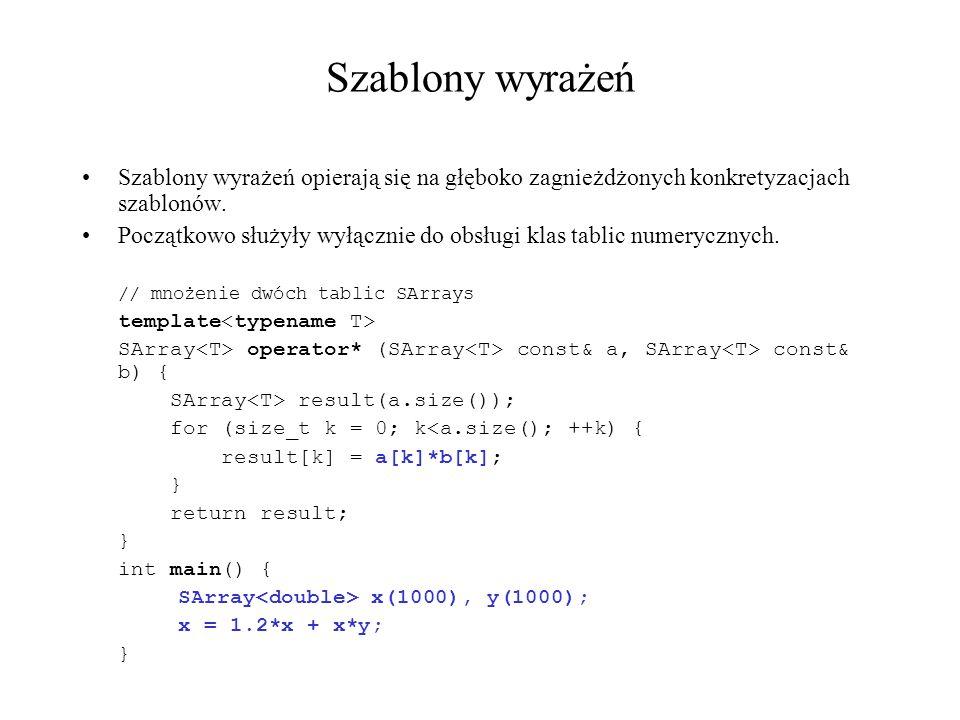 Szablony wyrażeń Szablony wyrażeń opierają się na głęboko zagnieżdżonych konkretyzacjach szablonów. Początkowo służyły wyłącznie do obsługi klas tabli