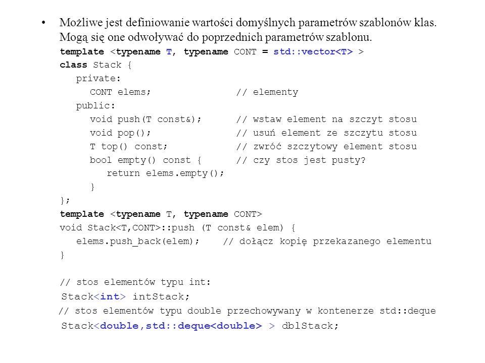 Możliwe jest definiowanie wartości domyślnych parametrów szablonów klas. Mogą się one odwoływać do poprzednich parametrów szablonu. template > class S