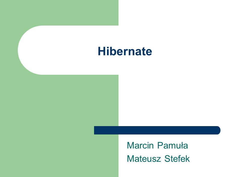 Hibernate Marcin Pamuła Mateusz Stefek